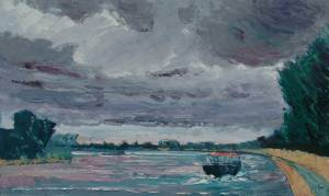 Rain Clouds over the Rhine Near Speyer