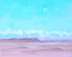 Morning Moon over The Atlas, Skoura, Morocco.