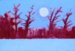 Snowy morning moon